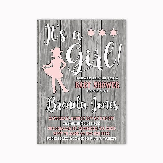 t's a Girl Baby Shower Invitation Western Baby Shower