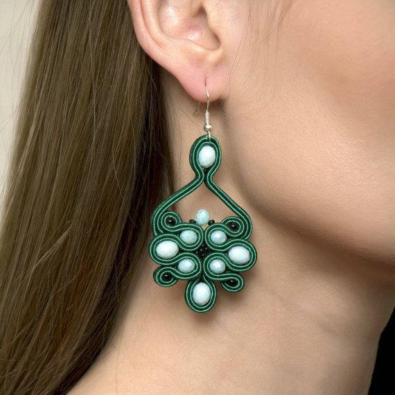 Emerald Green Forest Green Chandelier Dangle Soutache Jewelry by AMdesignSoutache