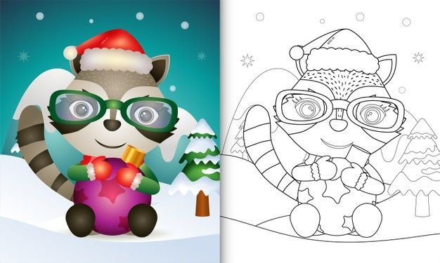 Coloring Book With A Cute Raccoon Hug Christmas Ball In 2020 Christmas Drawing Coloring Books Doodle Coloring