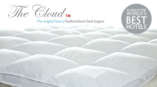 The Cloud Bed Topper, Feather Down Bed Topper by HotelHome, as seen in the world's best hotels.