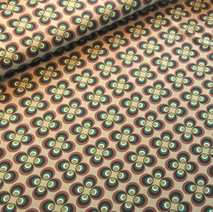 Jersey, retro blomst støvet grøn/brun