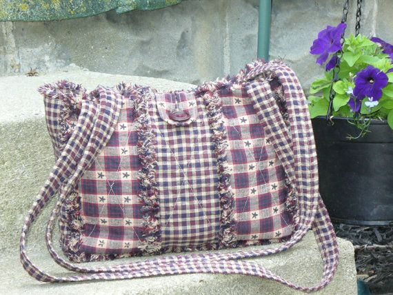 Rag Quilt Purse Americana Homespun Primitive Extra by Ashlawnfarms, $38.00