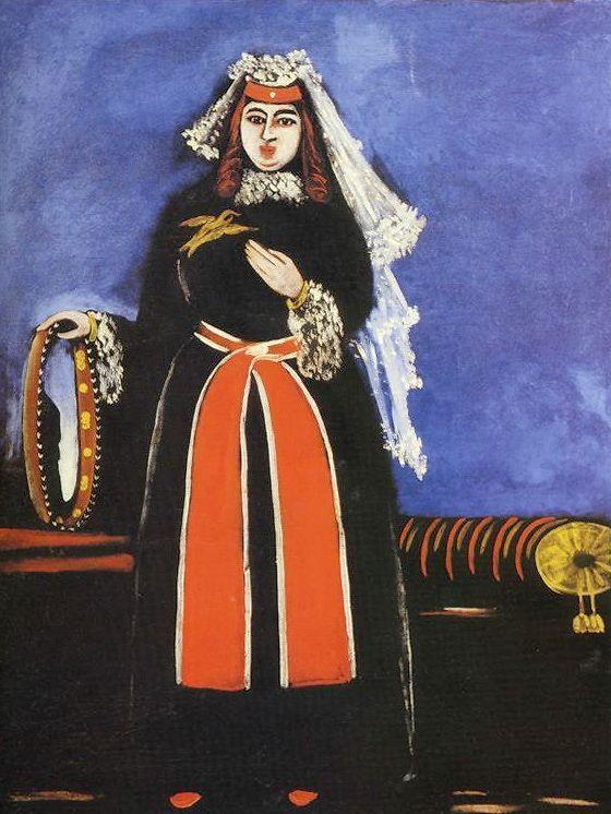 A Georgian Woman with Tamboreen - Niko Pirosmani, 1906