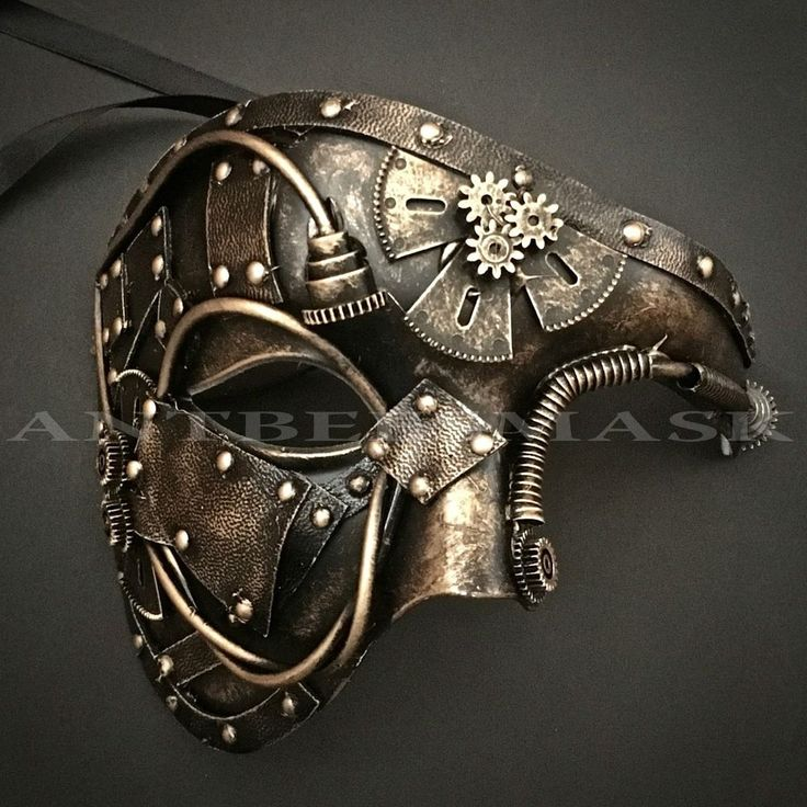 NEW Steampunk Halloween Mask Faux Leather Gear Pipe Black Gold Masquerade Mask