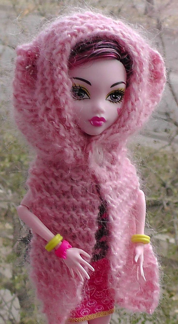 Как вязать шарф-капюшон на спицах. Обновки для куклы Монстр хай. Уроки в...