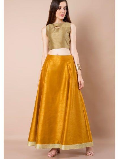 115b7059f7 Sequin Border Silk Maxi Skirt - Mustard | Only on busby.wooplr.com | Best Skirts  Online