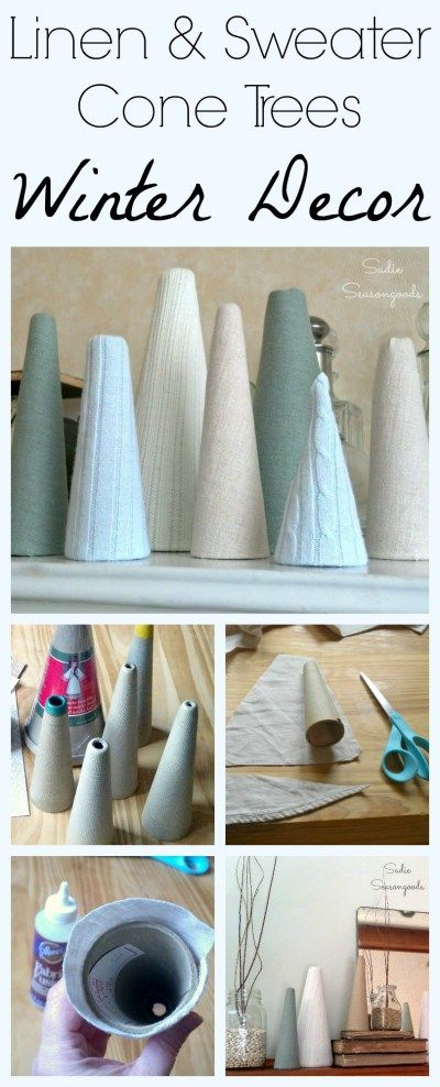 Winter decor can be extremely challenging- but you can bring the beauty of a winter landscape inside really easily! DIY winter trees- cardboard and paperboard cones wrapped in thrift store linen shirts and ribbed sweaters are easy to make. Go for pale blues, cool greens, and off-whites to capture a natural feel. A super easy repurpose / upcycle DIY craft project that anyone can do! #SadieSeasongoods / www.sadieseasongoods.com