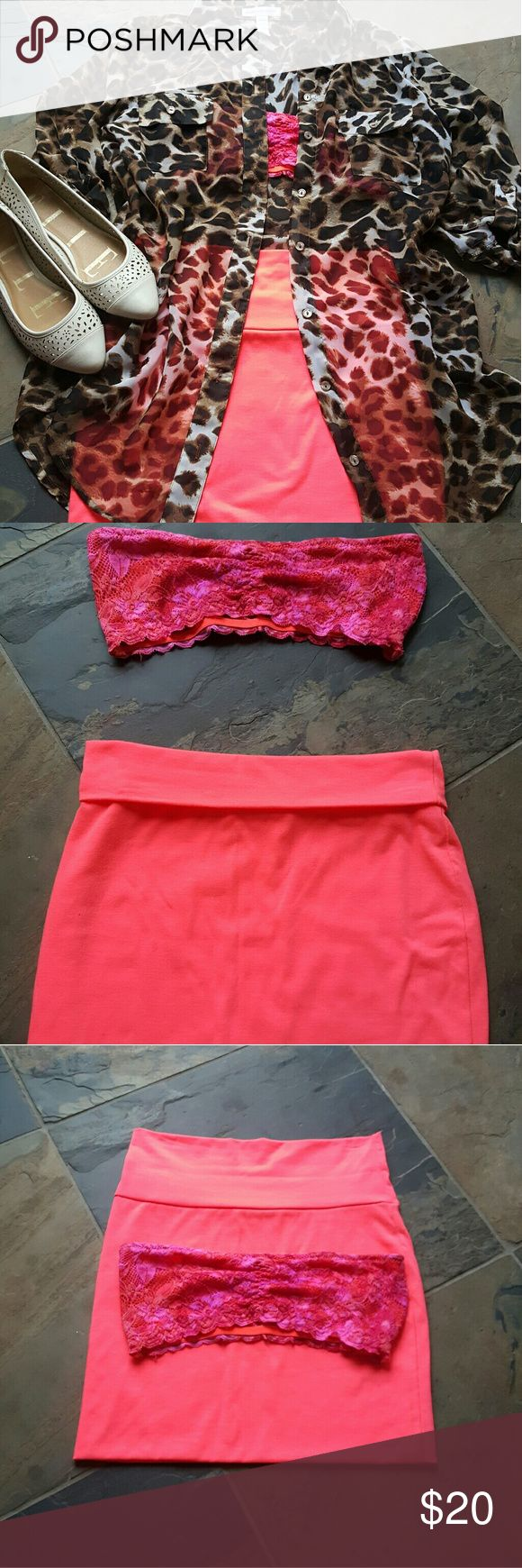Bralet with bandeau skirt bundle **bralet and skirt ONLY❗🔺🔻 in good condition bralet was used twice skirt a couple times no stains or rips. Super bright perfect for summer bralet is a size M and the skirt is XS bit stretches fits a size 5 jeans person. Hot and sumer party ready layer with a cute Shear blouse **also in my closet + bundles save you $$ and I ship fast. Skirts Skirt Sets