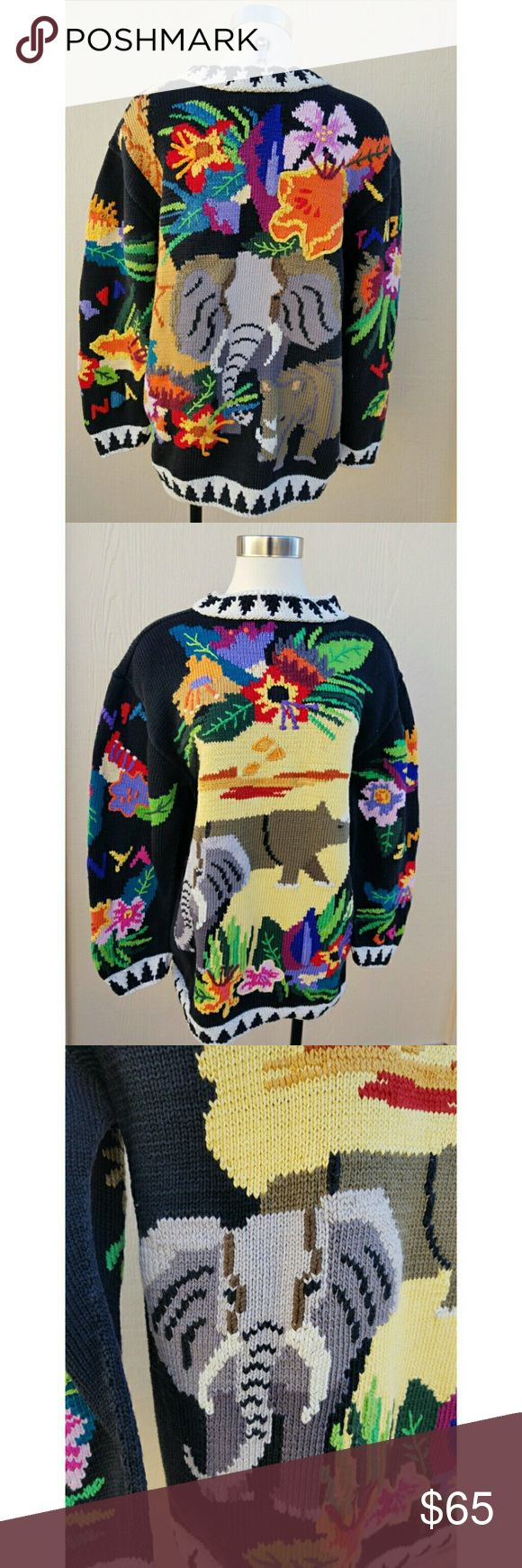 AMAZING VINTAGE African Jungle Safari Sweater! Berek Size L Amazing Heavy Knit  Tropical Jungle Safari Features Florals, Rhino, Giraffe, Elephants Large Elephant on Back Arms read: Tanzania, Kenya, Zambia, Uganda Excellent Condition Vintage Sweaters
