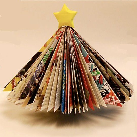 The second life of magazine. You don't have to throw away old colored papers. How about making a christmas tree?