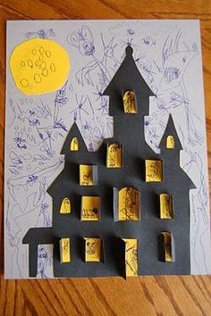 Haunted house craft. kids Halloween Project Idea #Halloween #Halloween Crafts #Kids