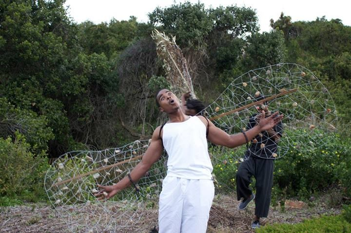 FACEBOOK 25 Aug. Vinthi Social News (photo). Seity, at the Timber Shed (#PerformanceArt). Site_Specific #LandArtBiennale. #Plett