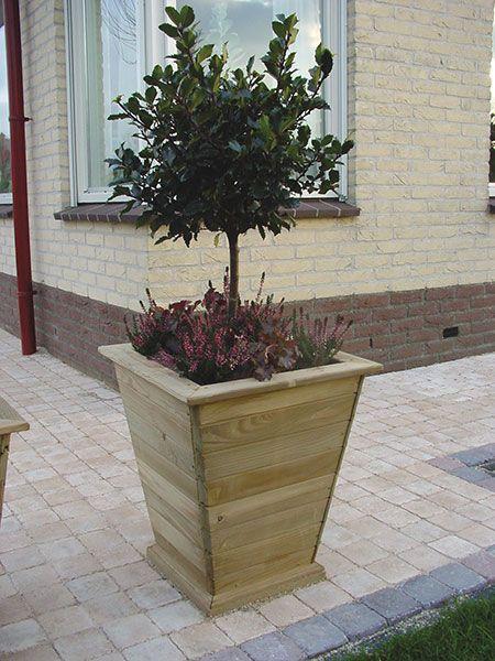 Tapered wooden planter garden flower bed pinterest for Tapered planter box plans