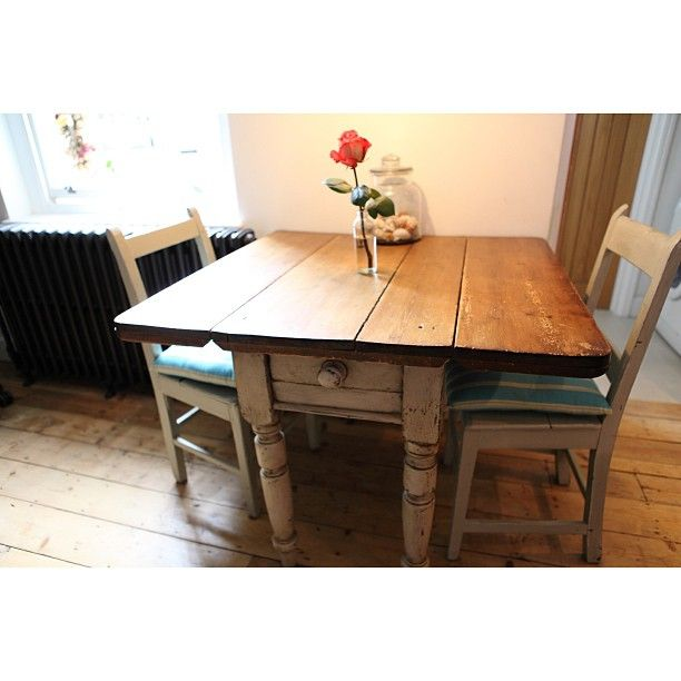 Vintage rustic table with fold down sides
