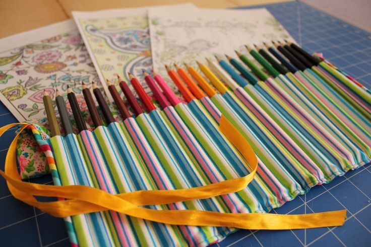 Ribbon Tied, Lined, Canvas Pencil Roll for 24 pencils, Pens or Brushes by ByCatDesign on Etsy