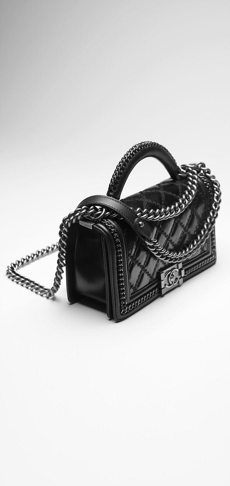 Calfskin Boy CHANEL flap bag with... - CHANEL