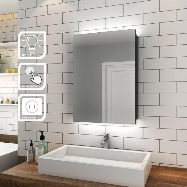 Bathroom Led Mirror Cabinet Storage Back Lit 500x700mm Button