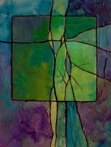 """GEMSTONE 10 mixed media abstract landscape © Carol Nelson Fine Art"" - Original Fine Art for Sale - © Carol Nelson"