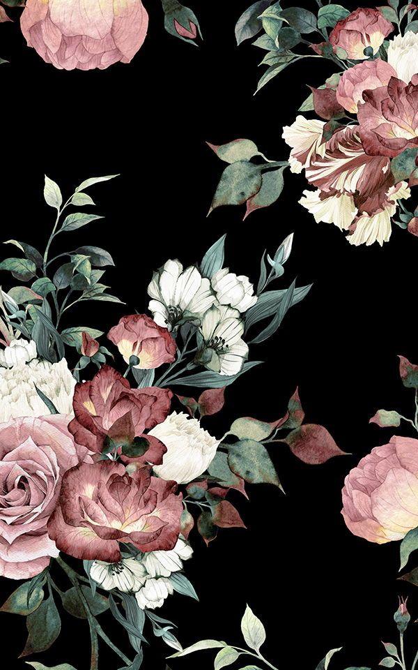 6 Dark Wallpapers To Create A Statement Bathroom Murals Wallpaper In 2020 Vintage Floral Wallpapers Black Floral Wallpaper Pink Floral Wallpaper