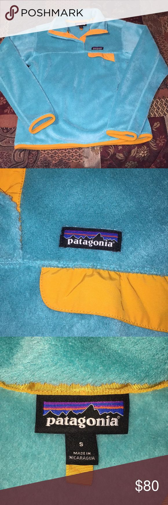 Patagonia Fleece Pullover💚 The color is NOT blue💕 Its more like a green, turquoise kinda color💚 In good condition 💚 Patagonia Sweaters