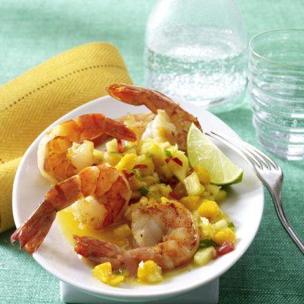 Gebratene Garnelen mit Mango-Ananas-Salsa Rezept