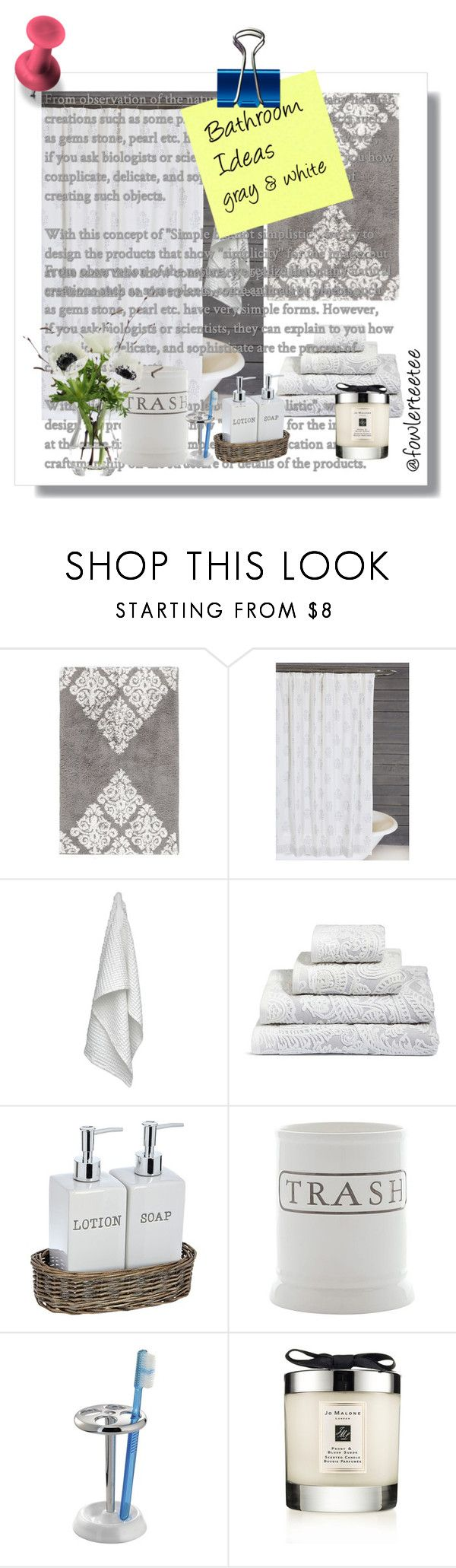 """""""Bathroom Concept"""" by fowlerteetee ❤ liked on Polyvore featuring interior, interiors, interior design, home, home decor, interior decorating, Pottery Barn, Pom Pom at Home, The Organic Company and Jo Malone"""