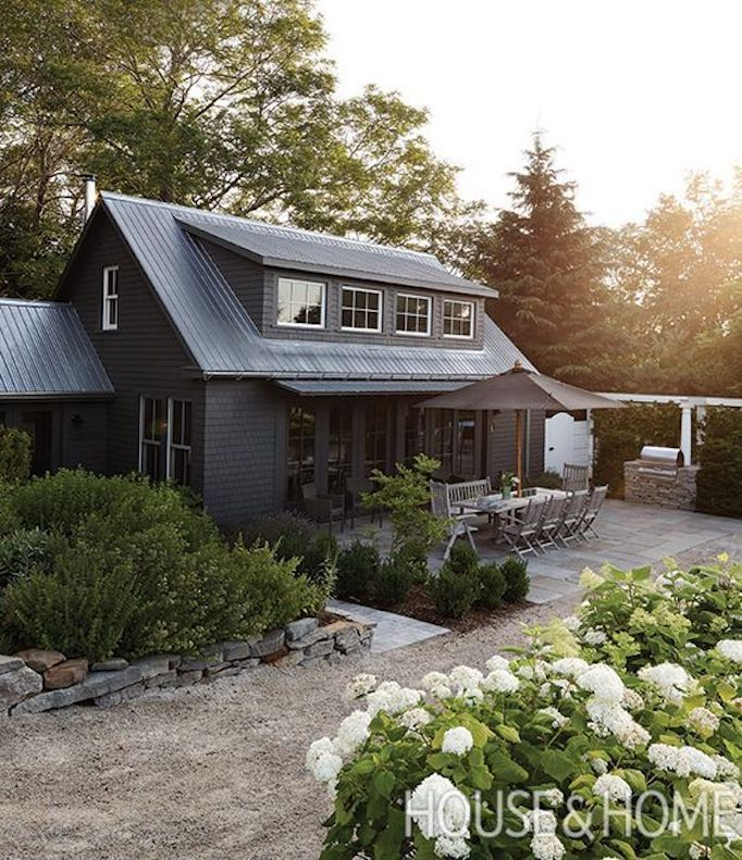 BECKI OWENS--Colors of the Modern Farmhouse + Paint Guide. Beautiful black Farmhouse exterior.