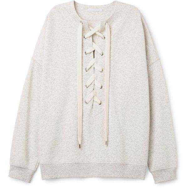Honey Sweatshirt found on Polyvore featuring tops, hoodies, sweatshirts, oversized sweatshirts, drop shoulder tops, lace up sweatshirt, lace up front top and oversized tops