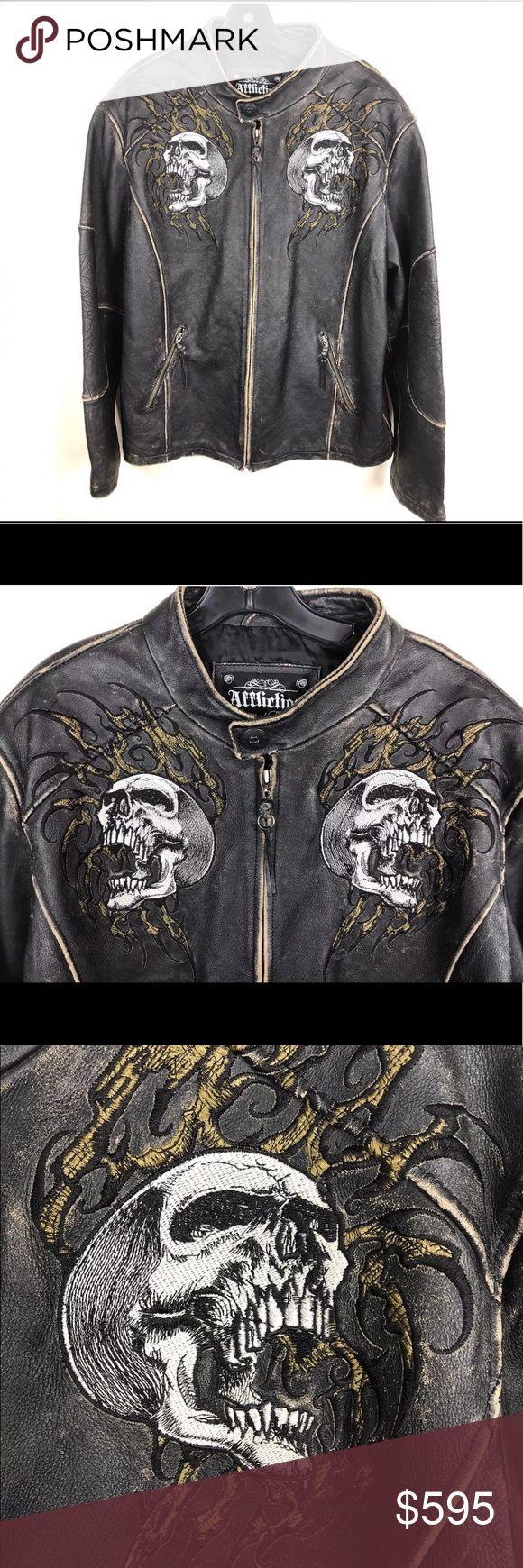 Affliction Shredded Leather Jacket Skulls XL Leather