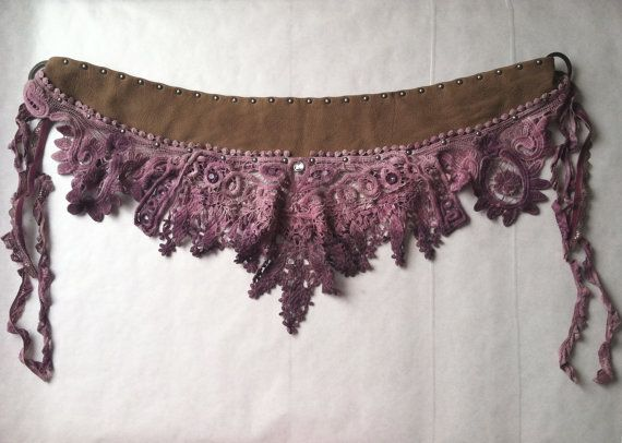 Dusty Rose Hand Dyed Lace/Crochet & Studded Leather by Kindlette
