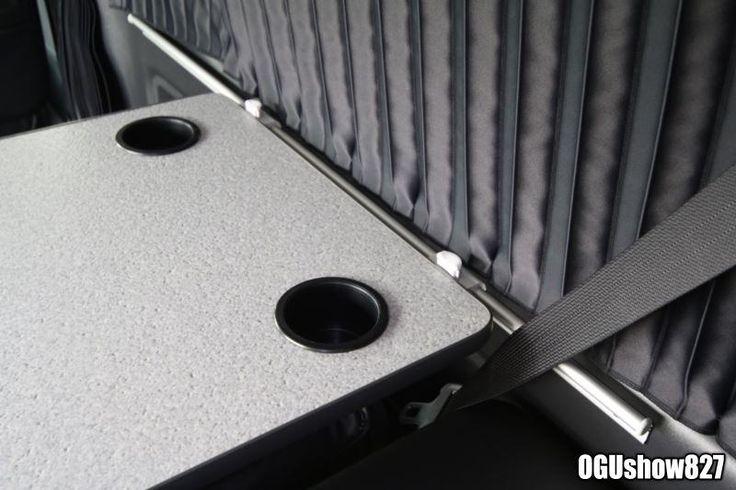 ハイエース ワゴンGL リアスピーカー天井埋め込み リアモニター増設 レール式テーブルオーダー製作