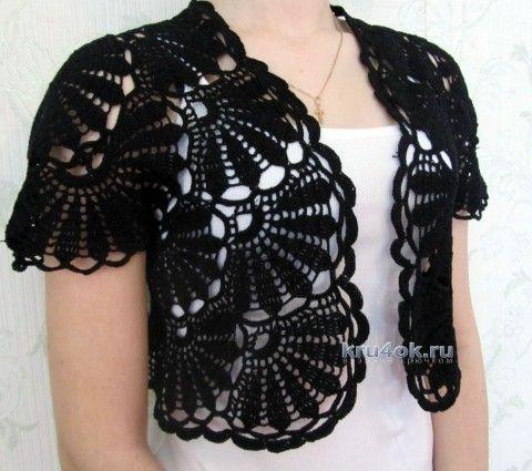Crochet bolero - work Lyudmila knitting and crochet scheme