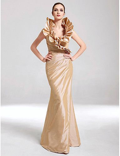 Taffeta Mermaid Trumpet V-Neck Dress