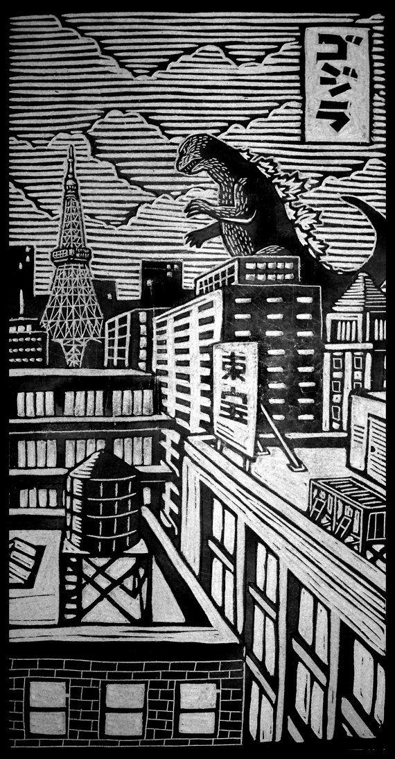 Godzilla Woodblock Print by WoodcutEmporium on Etsy