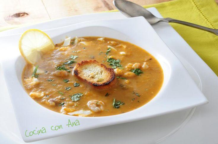 Sopa de rape y gambas, Cocina con Ana
