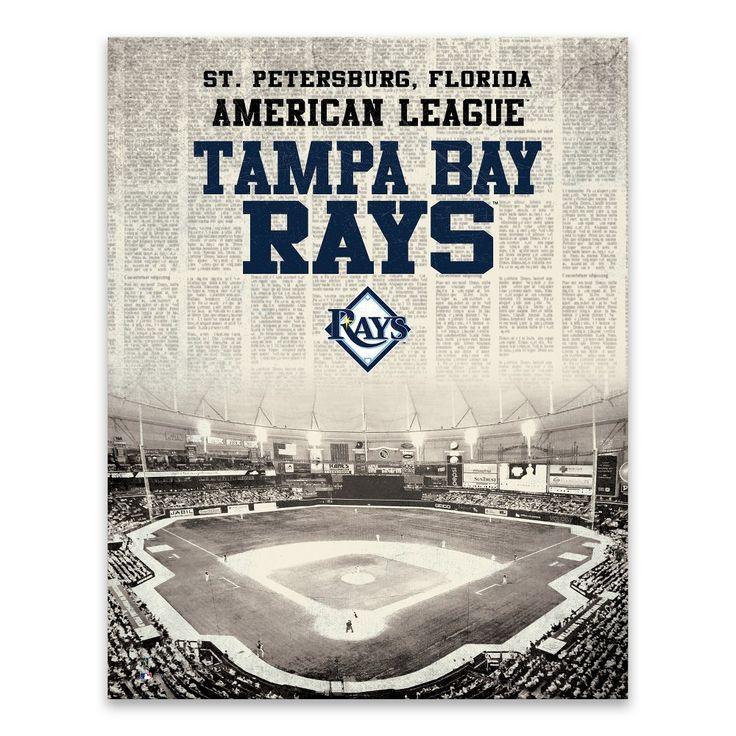 "MLB Tampa Bay Rays Newspaper Stadium Printed Canvas Art - 22x28""x1.25"""