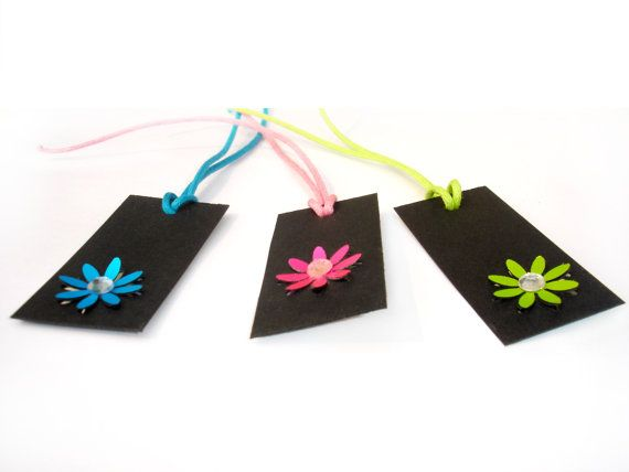 Gift Paper Card Tag  Black Tags  Flower Gift Tag  by ScrapCati, $6.00