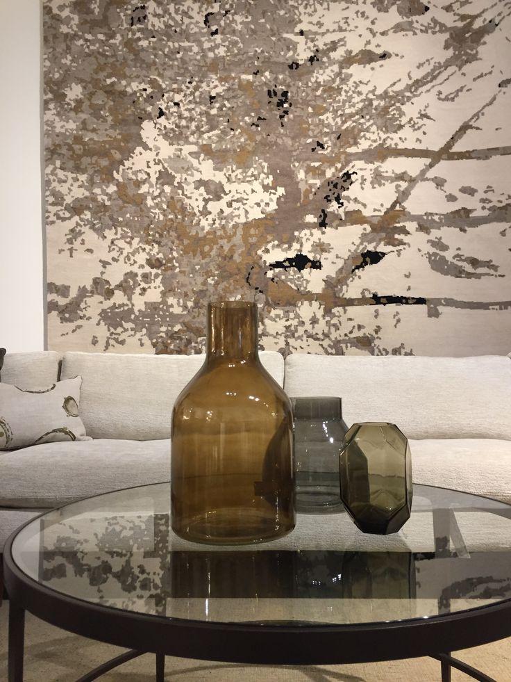 Smoked glass vases. #StudioGrandTrackArmSofa #insidecocoonfurnishings #cocoonshowroom