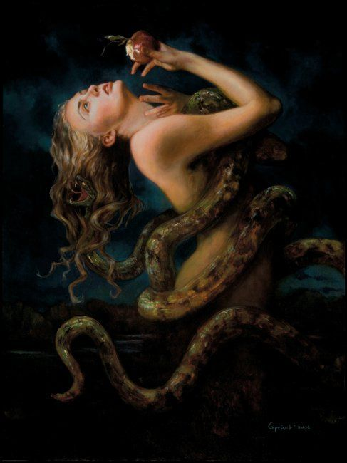 """""""Eve"""" Gail Potocki. 'Lilith was banished from the world of Adam and Eve but she occasionally managed to sneak back. It's often said that the serpent that tempted Eve in the Garden of Eden was none other than Lilith and many Medieval scenes of the Temptation show the serpent as a woman from the waist up, handing over the fatal fruit to bring about the Fall.'"""