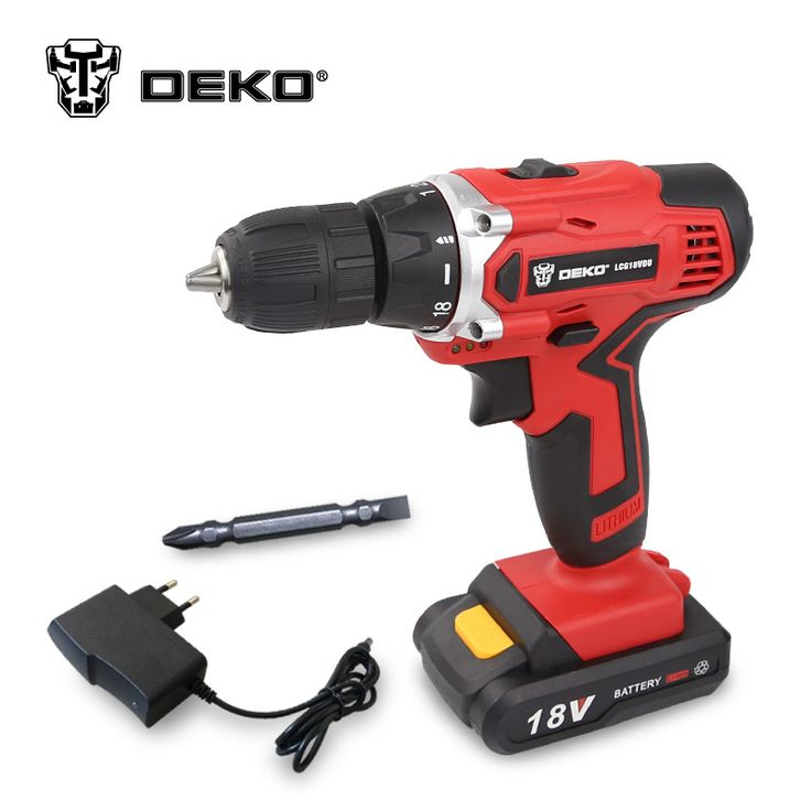 DEKO LCG18VDU 18V DC Household DIY Woodworking Lithium Ion Battery Cordless Drill/Driver Power Tools Electric Drill Power Drill купить на AliExpress