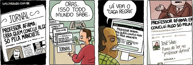 Manchete #WillTirando #WillLeite #Tirinhas #Cartoon #Manchete Não conclua uma matéria apenas pela manchete!