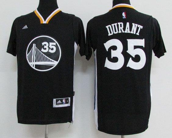 822909611 Golden State Warriors  35 Durant Black T-Shirt Men 2017 New Logo NBA Adidas  Jersey
