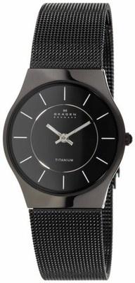 Skagen TITANIUM Black Mesh Ultra Slim Elegant Ladies Dress Watch 233STMB Brand New In Retail Box With Tags