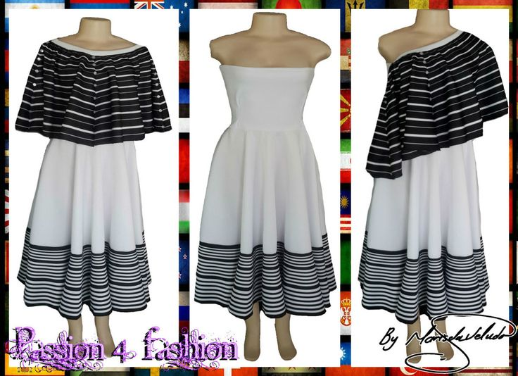 Xhosa black & white 2 piece modern traditional dress. Boob tube dress with a removable poncho