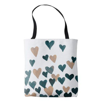 Valentines Day Watercolor Hearts  neutral Tote Bag - valentines day gifts gift idea diy customize special couple love