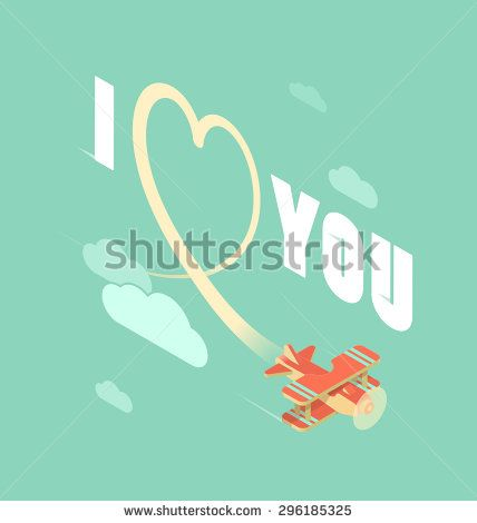 Biplane write heart in the sky, isometric illustration
