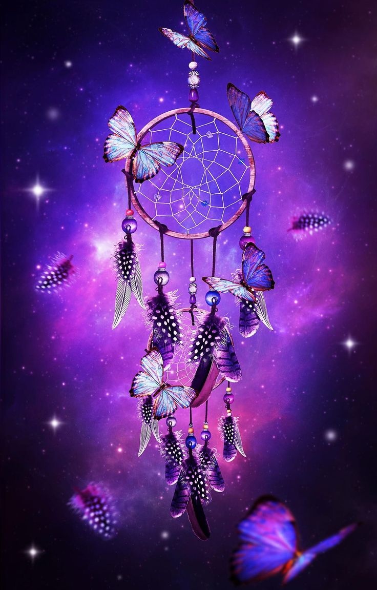 dream catcher with butterflies & purple background