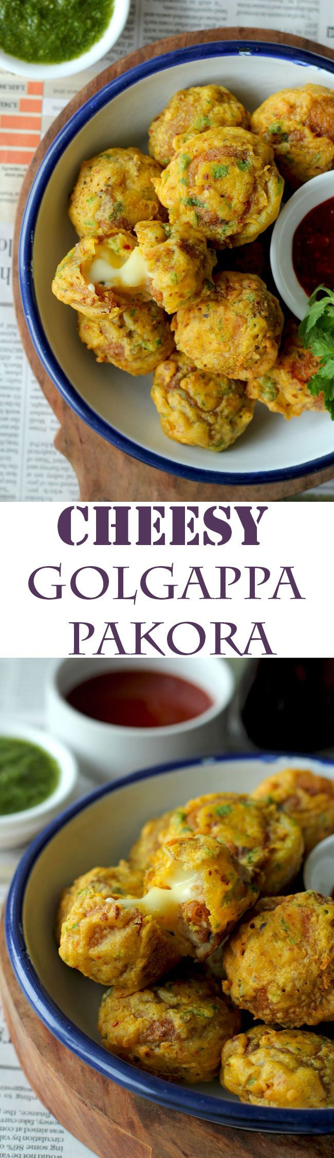 Introducing our new cool way to eat golgappa – Cheese Golgappa Pakora. The cheese golgappa pakora is the potato masala stuffed Indian style fritters loaded with cheese. #indianfood #snacks #indian funfoodfrolic.com