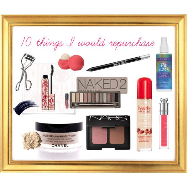 10 Things I Would Repurchase:  1. Bourjois healthy mix serum gel foundation  2. Chanel poudre universelle libre  3. NARS bronzer / blush duo (in Laguna and Orgasm)  4. Urban Decay Naked 2 plalette  5. Urban Decay 24/7 eyeliner  6. Shu uemura eyelash curler  7. Fairy Drops mascara  8. EOS lip balm  9. Dior Addict lip gloss  10. Urban Decay De Slick oil control makeup setting spray