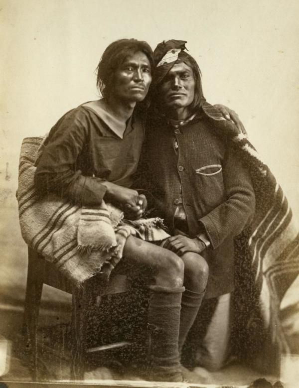 "Photo of a Navajo same-sex couple from the film ""Two Spirits"" taken in 1866. Courtesy of Bosque Redondo 1866/Museum of New Mexico - After a long history of acceptance, same-sex marriages were no longer recognized in the Navajo nation in 2005, but this shows signs of changing."